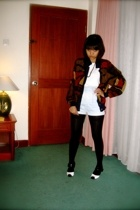 vintage jacket - t-shirt - vintage shorts - Topshop stockings - shoes