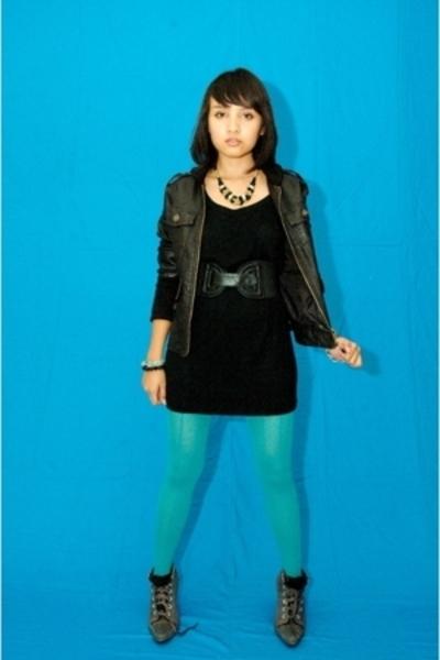 jacket - gaudy dress - H&M tights - boots