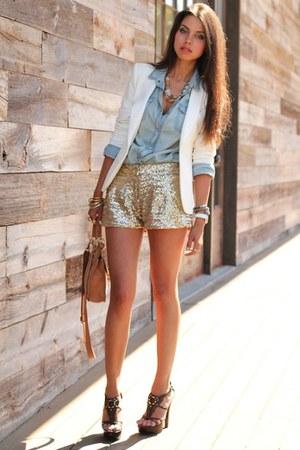 denim shirt - shorts