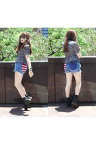 blue shorts - black Dr Martens shoes - gray blouse