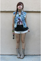 light brown faux snakeskin boots - shorts - navy DIY vest