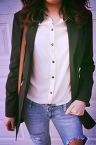blue boyfriend jeans thrifted jeans - black long blazer Express blazer