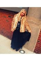 black motorcycle Donald J Pliner boots - camel leopard fur vintage coat - gray f