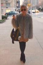 black maison harding boots - tan ruffles leather Zara dress - silver faux fur Za