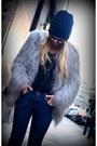 Black-forever-21-boots-silver-fauz-fur-zara-coat-blue-j-brand-jeans-black-