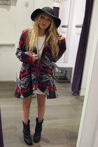 Donald J Pliner boots - Topshop dress - Topshop coat - banana republic hat