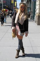 light brown france Jeffrey Campbell boots - pink floral sweater vintage dress -