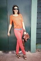 Review jeans - LOB blouse - DV sandals - vintage belt