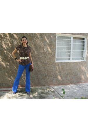 H&M jeans - Forever21 bag - pull&bear blouse - BCBG pumps