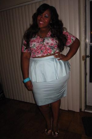 ASOS Curve skirt - cropped torrid cardigan - slinback Jessica Simpson sandals