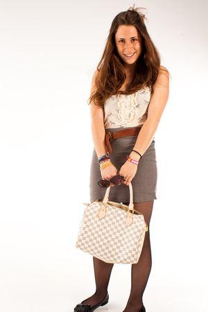 gray H&M skirt - beige LV - brown vintage belt - beige Primark t-shirt - black P