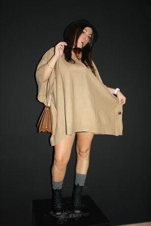 black New Yorker boots - beige H&M cardigan - brown Zara bag