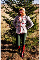 ruby red riding vintage boots - forest green riding American Apparel pants