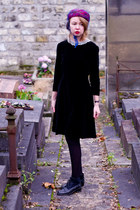 navy vintage boots - black vintage dress - hot pink vintage hat