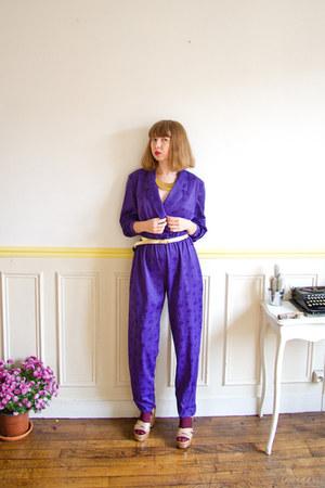 deep purple satin vintage romper - gold glitter asos wedges - gold vintage belt