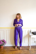 deep purple satin vintage romper - gold glitter asos wedges - gold vintage belt