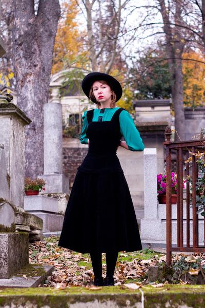 navy vintage boots - black vintage dress - black vintage hat