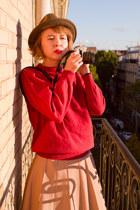 light brown wool vintage hat - brick red wool vintage sweater