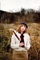 cream vintage cardigan - ruby red riding vintage boots - gray beret vintage hat