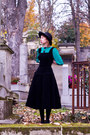 Navy-vintage-boots-black-vintage-dress-black-vintage-hat