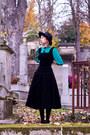 Navy-vintage-boots-black-vintage-dress-black-vintage-hat