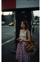 tawny vintage bag - off white H&M top - bubble gum vintage skirt