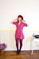 crimson granny vintage boots - maroon 90s polka dot vintage dress