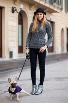 charcoal gray Zara sweater - silver Zara shoes - black H&M pants