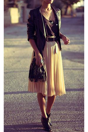 beige Bershka skirt - black leather Forever 21 jacket - dark brown Oasis shirt