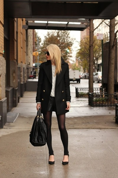 black Zara jacket - black Zara shoes - cream OTTE sweater