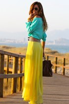 gold Capriche skirt - turquoise blue Primark shirt - dark brown Blanco Old bag