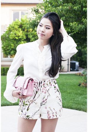light pink classic flap Chanel purse - white Alexander McQueen shirt