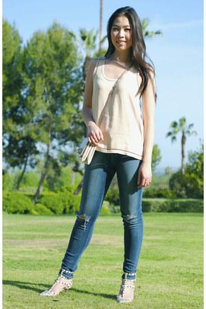 off white va va voom Valentino purse - blue distressed J Brand jeans