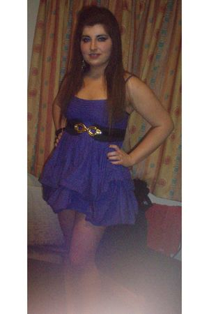 purple Asda dress - black Asda belt - gold Forever 21 earrings