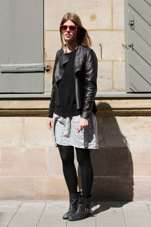 black Zara jacket - black Zara boots - ivory Mango dress