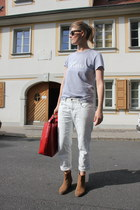white Zara jeans - brown Mango boots - ruby red Zara bag