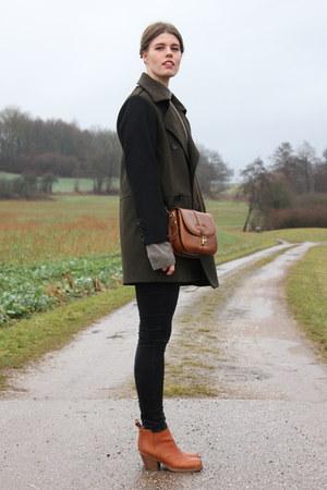 tawny acne boots - dark green Mango coat - tawny vintage bag