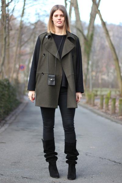 black acne bag - dark green Mango coat