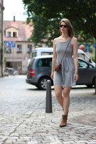 tawny Mango boots - heather gray H&M dress