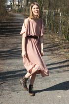 light pink H&M dress - dark brown Grtz17 boots - dark brown H&M belt