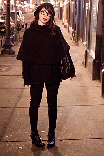 black Chanel glasses - black Gentle Fawn coat - black Gap cardigan - BDG pants -