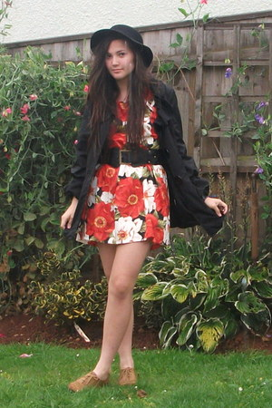 black new look coat - light brown Primark shoes - red floral wanko dress