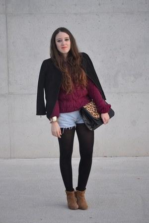 Zara bag - Zara boots - Zara jacket - vintage shorts - Bershka jumper