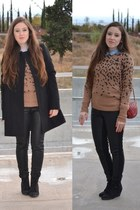 Zara boots - Zara coat - Stradivarius shirt - Mango bag - H&M Trend pants