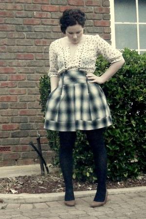 white bardot blouse - gray Tokito skirt - black Leona Edmiston tights - brown to
