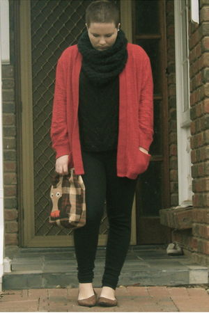 red thrifted cardigan - black bardot top - black FCUK leggings - gray cowl Sport