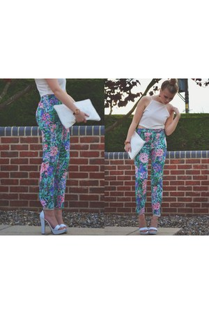 hot pink floral trousers Zara pants