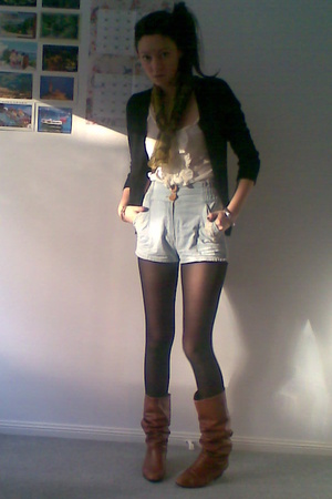 Ladakh top - Quirky Blue shorts - op shop scarf - Mums shoes