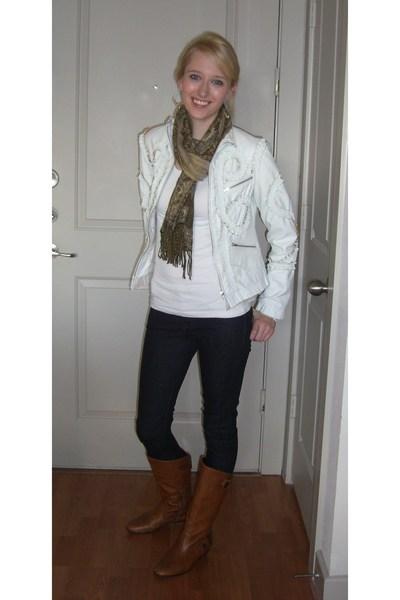 gold Anthropologie earrings - brown Forever 21 scarf - white American Rag shirt