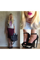 Zara bag - River Island skirt - House of Holland jumper - Ebay necklace